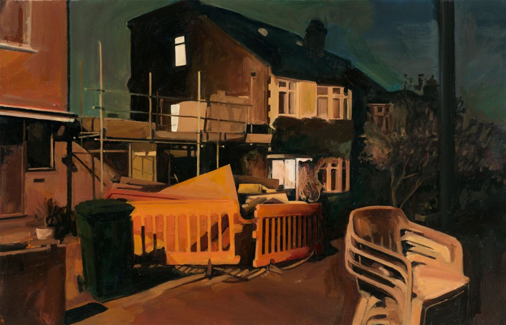 Painting of some houses at night with scaffolding and some white plastic chairs stacked up