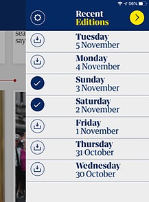 A screenshot of a menu showing seven dates with icons indicating two have been downloaded
