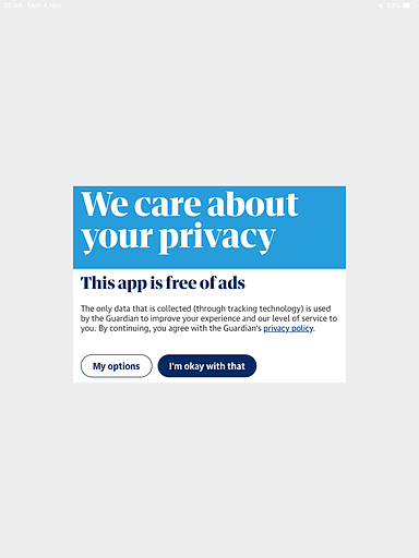 A screenshot of the app with a pop-up reading 'We care about your privacy'