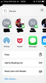 A screenshot of a share sheet