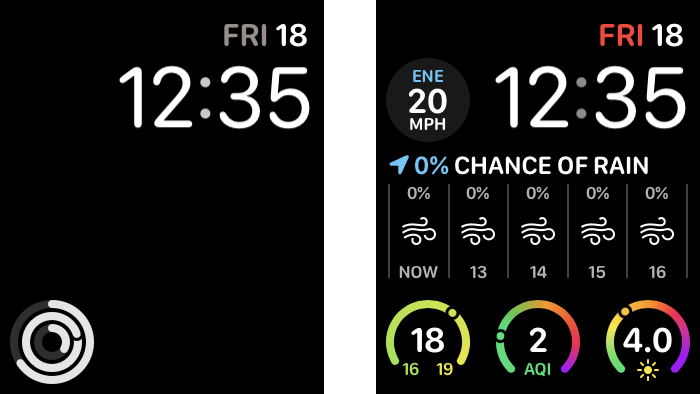 Screenshots of the two watch faces