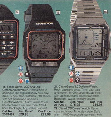A screenshot of a couple of digital watches in the Argos catalogue