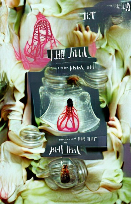 The centre of the image features a vaguely bell-shaped jar (a-ha!) containing a bright pink, veiny, light-bulb shaped object. Around it – as well as another similar pink shape and a couple of vaguely jar-like objects, are hazy pale yellow or greenish shapes – leaves? hands? Some white marks that look like indecipherable writing are scattered over the top.