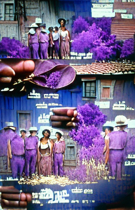A couple of similar images of people lined up in front of what could be wooden buildings coloured blue or purple, perhaps with red tile roofs. The people are brown and mostly wearing purple shirts and trousers, although one looks like it could be wearing a white top and reddish-purple skirt. Some are wearing white hats. Some bright purple bushes are dotted about. Lots of small pieces of indecipherable white text floats around.