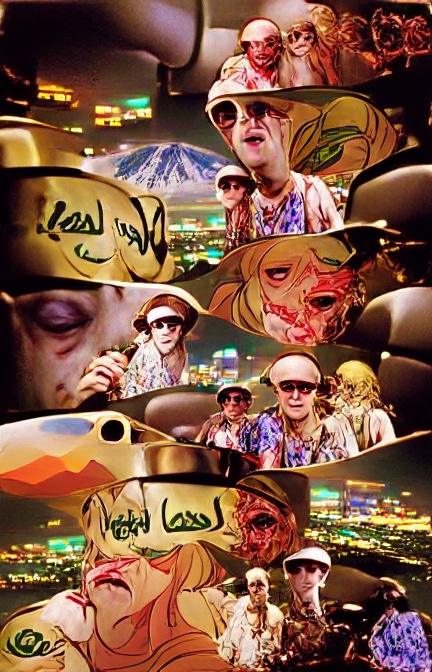 A woozy montage of images. The backgrounds are often what we can assume is aerial views of Las Vegas's lights at night. The heads and shoulders of several people, probably white men, appear, perhaps wearing brightly-coloured shirts and maybe white caps. Their eyes are dark or large dark wholes. Some black marks could be writing in an unfamiliar script. Everything looks like it's melting.