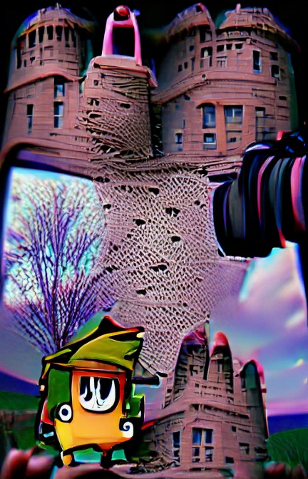 We see several images of what could be a castle or other large building made of brown stone with many windows. We can see what could be a bare tree against a distorted purple and blue sky. A strange, almost cartoonish, shape appears at lower left. It could be a rectangular orange character with green heart and turquoise shoes. Or... who knows what that computer was thinking when it drew this.