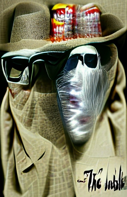 A vague image of someone perhaps wrapped in a tan overcoat and wearing a brimmed, tan hat, wearing black-framed glasses with nothing behind them. Another image of a ghostly white image wearing black sunglasses floats to its right, with an odd red, white and yellow patterned something – a hat? – above it. Text in the bottom right perhaps reads 'The Inble'