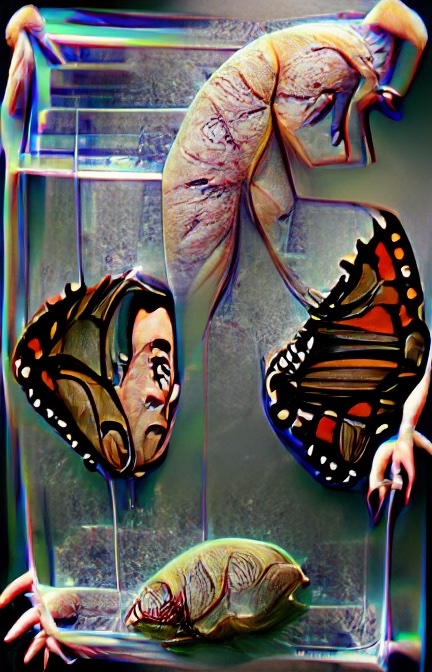 We see four objects within a vaguely rectangular shape that could be metal or glass. The largest, and most disturbing, looks insect-like, but pale pink, almost like human brain or something meaty, yet with what could be stick-like orange-brown legs. Two almost triangular shapes could be separate butterfly wings, or stained-glass windows, black outlines with bright red, white and brown panels. At the bottom sits a strange pale greenish shape like an insect that's yet to emerge from some kind of shell.