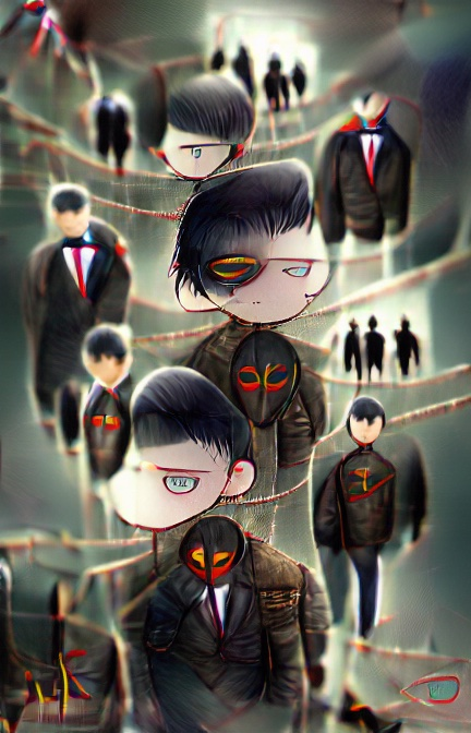 At leats eight figures of different sizes float disjointedly on a hazy background, each one perhaps representing a pale blue-eyed, black-haired boy wearing a black suit with white shirt and red tie. In the background further smaller black silhouettes are visible against white areas – large doorways? In the centre, in front of one boy is a mouthless black mask with two eyes ringed in bright red.