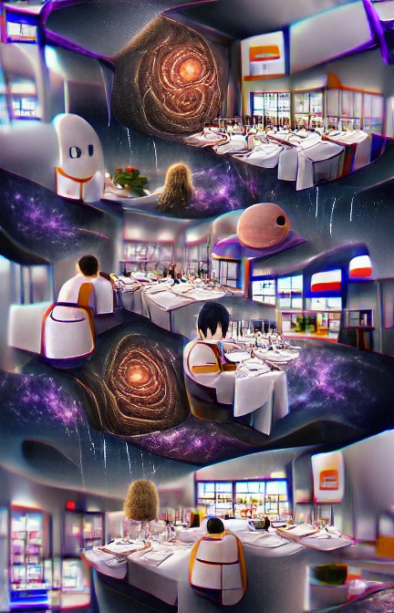 Three very similar horizontal scenes, one above the other. Each is of a restaurant with tables covered in white table clothes. There is, perhaps one or two people – vaguely people-shaped shapes with what is perhaps black hair – seated at tables. Two of the scenes also feature what looks like a dark tunnel or wormhole leading to a distant orange light.